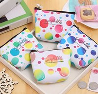 Wholesale Women Wallets PU Leather zipper Coin Purses Small short Wallets dot pattern Women mini pouch Money Pocket