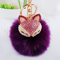 Wholesale New Gift Cute Bling Rhinestone Fox Real Rabbit Fur Ball Fluffy Keychain Car Key Chain Ring Pendant For Bag Charm Hotsale