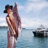 arab scarves - Hot Sale Aztec Scarf With Tassels Vintage Geometric Shawls Fashion Shemagh Print Muslim Hijab Arab Wraps Luxury Brand Foulard FS61017