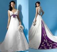 purple plus size wedding dresses - Best Selling White and Purple Wedding Dresses V Neck A Line Empire Waist Backless Maternity Bridal Gowns With Embroidery Beads Bow