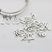 alphabet charms wholesale - New Vintage Alloy Alphabet Charms Metal Initial Letter Charms Each Alphabet Charms AAC1198