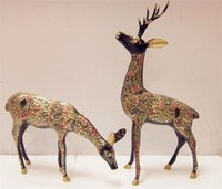 Wholesale Pakistan inch painted Deer Animal imported handmade art copper ornaments