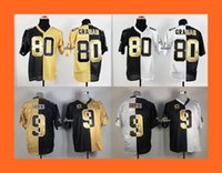 Wholesale 2016 Newest Graham brees white black yellow black Split Elite Football Jerseys Drop Shipping Top Quality Hot Sale