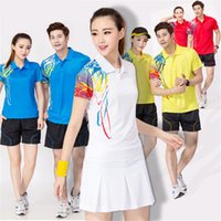 Wholesale Badminton Sports Cloth Breathable Quick Dry Wicking Shirts Clothing Unisex t shirt Table Tennis Clothes Shirt Shorts L395