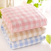 baths direct - 2016 Jacquard Untwisted Yarn Towel Factory Direct Three Color Cotton Bath Towel Thickened Fresh Plaid HY123