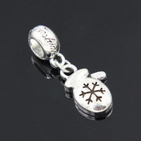 beaded christmas crafts - 2016 new Silver plated Enamel Christmas Gloves Dangle Beads DIY Craft Jewelry Fits Pandora Style Charms Bracelets