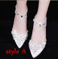 Wholesale Elegant Bridal Wedding Shoes Wedding Pumps Buckle Crystal High Heel Shoes Rhinestone Pearl Sparkling Wedding Princess Shoes White Red