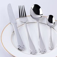 Wholesale 4 Stainless Steel Dinnerware Cutlery Dinner Fork Spoon Knife With Silver Rose Handle For Thanksgiving Day