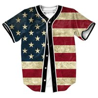 Wholesale Old Glory Jersey with buttons d overshirt sport shirt Men s shirt with baseball shirt Streetwear baseball shirt overshirt