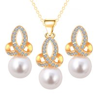 answers setting - New snow pearl jewelry sets three piece suit diamond jewelry earrings necklace jewelry sets female short answer generous favorites