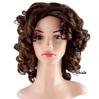 Wholesale Women Cosplay Wigs short hair women Curly Women s Fashion Synthetic Party CM Black Color Hair Wigs