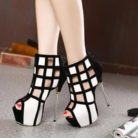 bars boot - Hot Sale Lady Hollow Boots Stiletto Heel cm New Ladies Peep Toes Sandals T Bar Heel Peep Toe Party Sandals YY0836