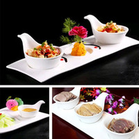 Wholesale appetiser plates plastic spoon piece wedding dessert cake plates Melamine Sauce salad ice cream Bowls with Handle sushi serving sugar spoon