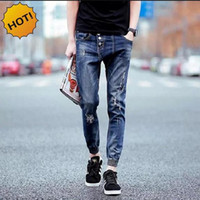 Wholesale Hot Fashion Teenagers Shadow Ankle Banded Pants Boy Slim FIt Hole Ripped Jeans Retro Stretch Students Hip Hop Harem Pants