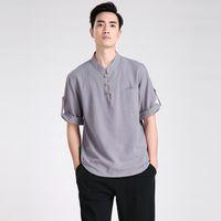 Wholesale Free Shiping Chinese Traditional Linen Short Sleeve Tang Suit Tops Chinese Kung Fu Shirt Kung Fu Jacket Kung Fu Shirt Color