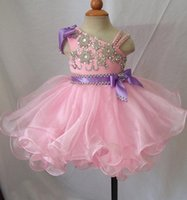 Cheap Pink Princess Girls Pageant Dresses Beautiful Ruffle with Beads Real Model Custom Organza Short Pageant Gowns for Girls Wedding Party Dress