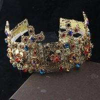 baroque ring - Hot Bridal Wedding Jewelry Women Vintage Baroque Crown Tiara Headband Rhinestone Hair Accessory Formal Occasion for Bride In Stock