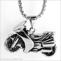 american racing steel - Fashion Silver Black L Stainless Steel Racing Motor Biker Men s Pendant Chain Jewelry Hot Xmas Gift