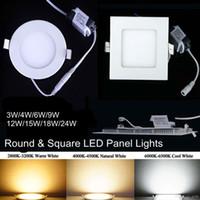 Wholesale Ultrathin Design W W W W W Aluminium Panel Light SMD Recessed LED Downlights AC110V AC220V LED Ceiling Lights