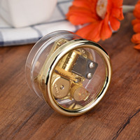 Wholesale Transparent musical box Round Acrylic Note Wind up gold mental musical movement Musical toy gift Tune My Neighbor Totoro