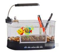 Wholesale Mini USB Desktop Electronic Aquarium Fish Tank With LED Light Pen Container Storage Case Decoration Gift