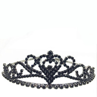 Wholesale 2016 new Hot Black gun black Dazzing Crystal Bridal Crown Rhinestone Heart Shaped Girl Tiara High Quality