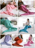achat en gros de adulte couverture snuggie-140x70cm Mermaid Tail Blanket Adulte Little Mermaid Blanket Knit Cashmere-Like TV Canapé Blanket Snuggie Couverture