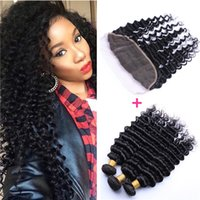 Wholesale 8A Brazilian Deep Wave Virgin Hair With Frontal Ear To Ear Lace Frontal Closure With Bundles Deep Curly Human Hair Weave