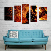 arts welding - 5 Picture Combination Wall Art Sparks Flew During Welding Car Bottom On Canvas Abstract The Picture For Home Modern Decor