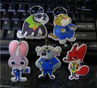 Wholesale Zootopia Keychains Cartoon Rabbit Judy Nick Fox Zootopia Keychain PVC Sponge Stuffed Action Figure Pendant Keychain Key Ring Keyrings Gifts
