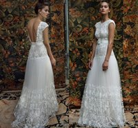 arias dress - Lihi Hod Bridal Dresses Aria Cap Sleeve Wedding Dress White Lace Embellished Bodice Skirt Belt Custom Make Boho Beach Wedding Gown