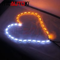 Wholesale Universal Running Horse Dual Color LED Flexible DRL with Turn Signal Light White Yellow Flowing Color