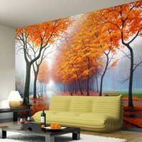 autumn heat - Custom Any Size D Landscape Photo Wallpaper Mural For Living Room Bedroom Yellow Leaves Of Autumn Wall Paper Papel De Parede