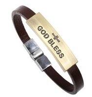 amazon leather bracelets - Hot On Amazon European and American Leather Bracelet Jewelry Titanium Steel Bracelet Christian God Bless Cross Bracelet