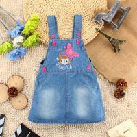 Wholesale 2015 new arrival children s girls strap denim skirt summer children s tank top clothing Korean female baby children slip dress A08