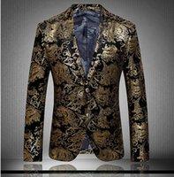 Wholesale Men s Blazers gold blazer for men suit autumn and winter high quality brands men s velor Married suit plus blazer slim man