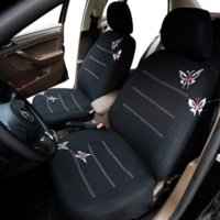 Wholesale AUTOYOUTH Butterfly Embroidery Car Seat Cover Full Set Universal Fit Most Car Covers Interior Accessories Black Seat Covers