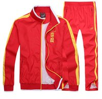 olympic clothing - China Red sports Mens sportswear embroidery flag sportswear clothes sets Olympic Games Jacket