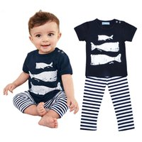 baby whale fish - Retail Kikikids Boy Clothing Set Cartoon Whale Pattern T shirt Striped Pants Kids Set Summer Style Animal Fish Baby Girl Clothes