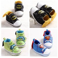 batman tie - 6 Design baby Ninja TMNT Batman Handsome cape Mickey booties toddler shoes new children cartoon cotton baby First Walker Shoes E1065