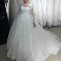Wholesale Long Sleeves Wedding Dresses Lace Appliques Bridal Gown With Court Train Custom Made Sheer Neck Brides Dress