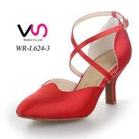 Wholesale Red Color Nice Plain Sandal WR L624 Women Suede Pig Skin Salsa Dancing Shoe Tango Dance With cm Heel Height Comfortable Shoe