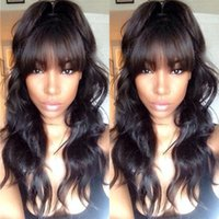 Wholesale Glueless Full Lace Wig With Full Bangs Body Wave Brazilian Lace Front Wigs Body Wavy Full Lace Human Hair Wigs For Black Women