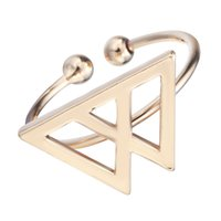 Wholesale 10pcs Double Triangle Rings Cruz Triangle Rings in Gold or Silver Simple Mountain Rings for Women Roxi Aneis