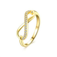 best deals china - Best Deal New Diomedes Women Luxury Gold Plated Zircon Simple Infinity Word Charm Ring AKR123 A
