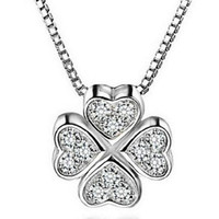 clover necklace - Top Grade Silver Pendant Necklaces Zirconia Crystal Clover Shiny Pendants Necklace for Women Wedding Party Jewelry WH