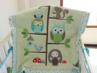 baby cots sale - Sale Baby bedding set Embroidery cartoon owls bird hedgehog squirrel Crib bedding set cotton including Baby Quilt etc Cot bedding