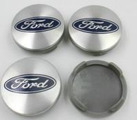 Wholesale 4pcs mm Blue Silver Car Wheel Hub Center Cover Caps Emblem Logo Badge For Fiesta Focus Fusion Mondeo Escap M211003AA