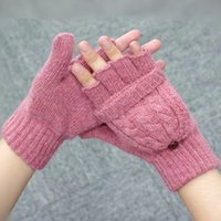 Wholesale New Women s wool gloves Fingerless Gloves thicker warm gloves winter gloves Double use gloves with cover gloves A0323