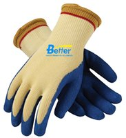 latex coated gloves - Aramid Fiber Wrapped Steel Safety Gloves Latex Coated EN388 Grade Anti Cut Resistant Work Gloves